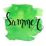 Summer lettering on green watercolor stroke. Vector illustration.Summer Watercolor Design.Summer Typography Lettering. Aquarelle Style.Hello Summer vector Stock Image