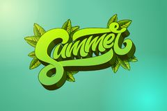 Summer lettering. Handmade modern brush typography. Template for banner, flyer, poster. Vector illustration with leaves. Royalty Free Stock Image