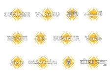 Summer lettering in 12 languages Stock Photography