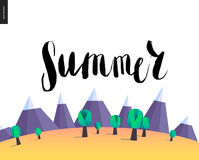 Summer lettering on mountain landscape Royalty Free Stock Photo