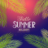 Summer lettering with palm Royalty Free Stock Images