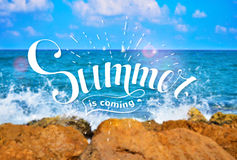 Summer lettering on sea background. Royalty Free Stock Images