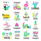 Summer lettering set with holiday elements. Stock Image