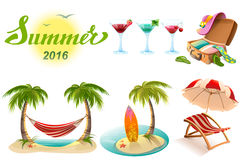 Summer 2016 lettering text. Set of objects symbol of summer vacation. Illustration in vector format Stock Photo