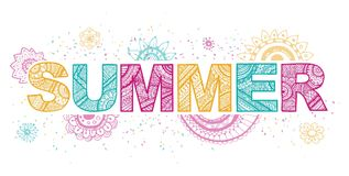 Summer lettering. Vector Illustration Stock Photography