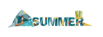Summer lettering on white background, dedicated to vacation, hol Royalty Free Stock Photos