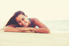 Summer Lifestyle, Happy Carefree Young Woman at the Beach Royalty Free Stock Photography