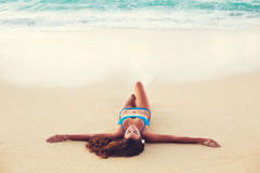Summer Lifestyle, Happy Carefree Young Woman at the Beach Royalty Free Stock Images