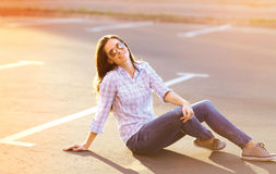 Summer lifestyle portrait pretty sensual woman outdoors royalty free stock photography