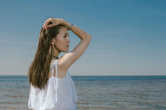 Summer Lifestyle  Portrait Woman in White Dress Smiling Near Se Stock Images