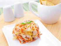Summer light salad with carrots chicken and mango Royalty Free Stock Image