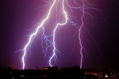 Summer Lightening over Plovdiv Royalty Free Stock Image