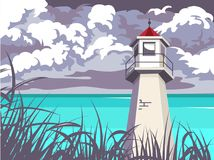 Summer lighthouse. seascape vector illustration