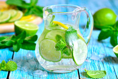 Summer lime and mint lemonade. Stock Photos