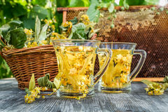 Summer lime tea with honey served in the garden Stock Photo