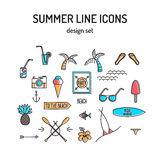 Summer line icon set. Beach and sea resort Royalty Free Stock Image