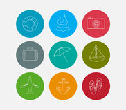 Summer line icons set Royalty Free Stock Image