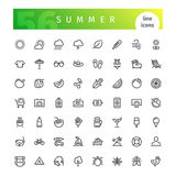 Summer Line Icons Set Stock Photography
