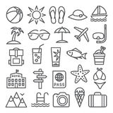 Summer Line Icons Stock Image