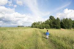 Summer  a little boy walking along the road in the field. Royalty Free Stock Photos