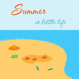 Summer is little life. Bight summer card with sea shore. Royalty Free Stock Photos