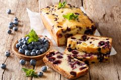 Summer loaf of fresh blueberry muffin bread cake decorated with. Mint closeup on a table. horizontal stock image