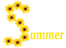 Summer logo. Yellow flowers forming the letter S and text for the word summer. A perfect logo for the season stock images