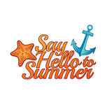 Summer logo. Banner Say hello to summer. Summer icon, logo, banner. Emblem with starfish and anchor. Vector Stock Photo