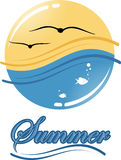 Summer logo. Summer emblem depicting the sky and the sea Stock Photos