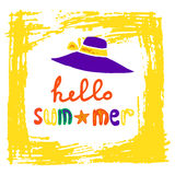 Summer logo with hat, frame and handwritten inscription Royalty Free Stock Images
