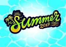 Summer logo 2017. Summer sea logotips text 2017 Royalty Free Stock Photos