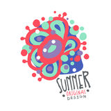 Summer logo template original design, colorful hand drawn vector Illustration with floral elements. For stickers, banners, cards, advertisement, tags Stock Photography