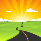Summer Long Road Towards Eternity Royalty Free Stock Photo