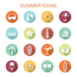 Summer long shadow icons Stock Photography