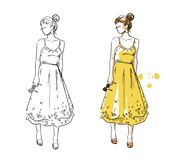 Summer look, girl in a yellow dress. Vector fashion illustration. Color and line drawing Stock Images