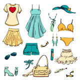 Summer look in sketch hand-drawing style. Set of various clothing items and accessories. Perfect for design signage sales, shopping bags, postcards, posters Stock Photography