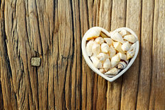 Summer Love. With a shape of hearth and sea shells inside Royalty Free Stock Image
