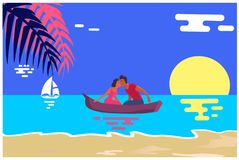 Summer Love Banner with Kissing Couple in Boat. Summer love affair banner with kissing couple sailing together in one boat, relationships of strangers during Royalty Free Stock Images