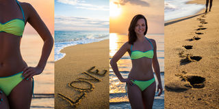 Summer and love concept - collage of slim beautiful woman in bik. Summer and love concept - collage of sexy slim beautiful woman in bikini posing on summer beach Royalty Free Stock Image