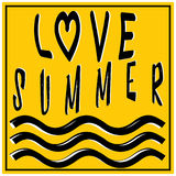Summer love illustration, background. Fun quote. Fashion the best poster. Handwritten banner, logo or label. Colorful hand drawn Royalty Free Stock Image
