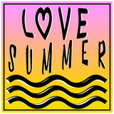 Summer love illustration, background. Fun quote. Fashion the best poster. Handwritten banner, logo or label. Colorful hand drawn. Royalty Free Stock Photo
