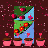 Summer love party birthday cupcake flower scrapbook style card illustration Stock Photography