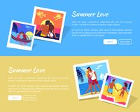 Summer Love Photos near Text Vector Illustration. Summer love photographies with romantic couple spending honeymoon or dating on beach near written text template Royalty Free Stock Image