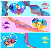 Summer Love Photos of Couples in Heart Shape Frame Royalty Free Stock Photo