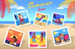 Summer Love Poster with Photos of Couples Set. Summer love photos set of couples on dates at beach during vacation and colorful palms, white sand and blue ocean Stock Photography