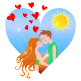 Summer Love. Sweet couple kissing in heart shaped summer season scene Stock Images