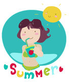 Summer lover cartoon Stock Photo