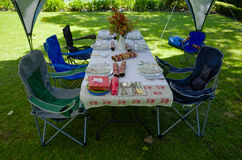 Summer lunch table under a gazebo tent Stock Image
