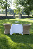 Summer lunch for two. Summer lunch table for two served in the garden Royalty Free Stock Photos