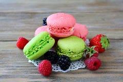 Summer macaroon and raspberry, blackberry, Royalty Free Stock Photo